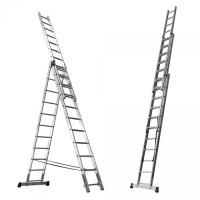 Лестница алюминиевая трехсекционная стандарт ( 9 ступеней)